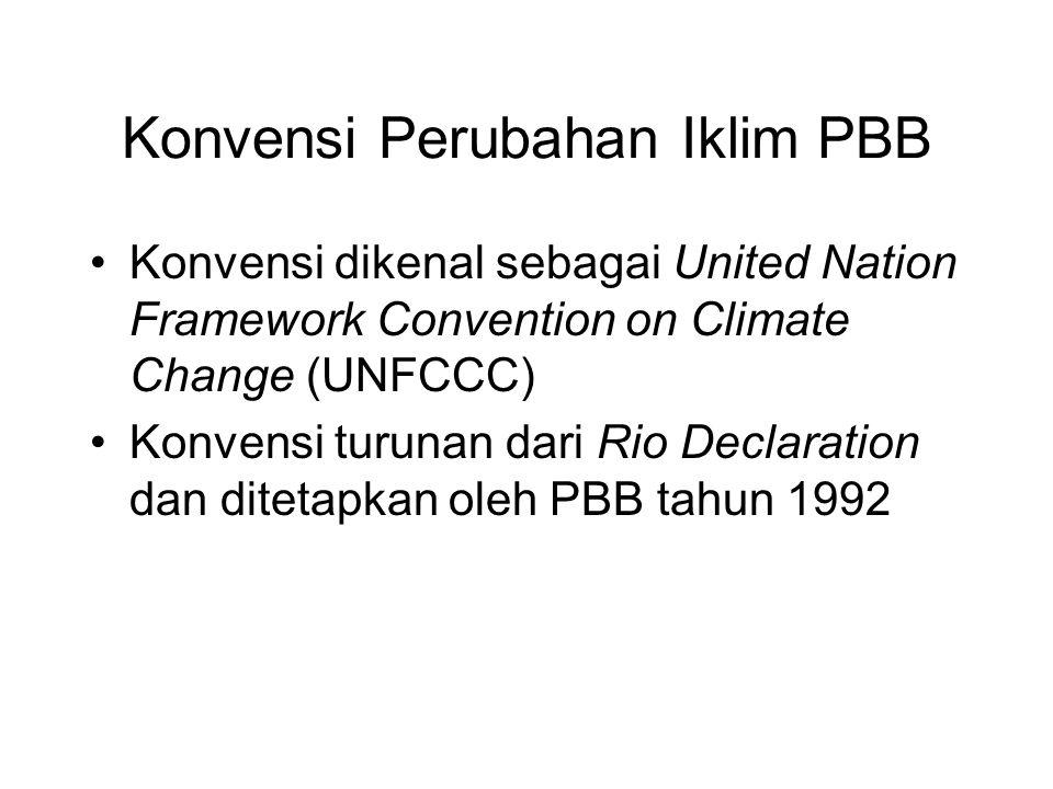Konvensi Perubahan Iklim PBB •Konvensi dikenal sebagai United Nation Framework Convention on Climate Change (UNFCCC) •Konvensi turunan dari Rio Declar