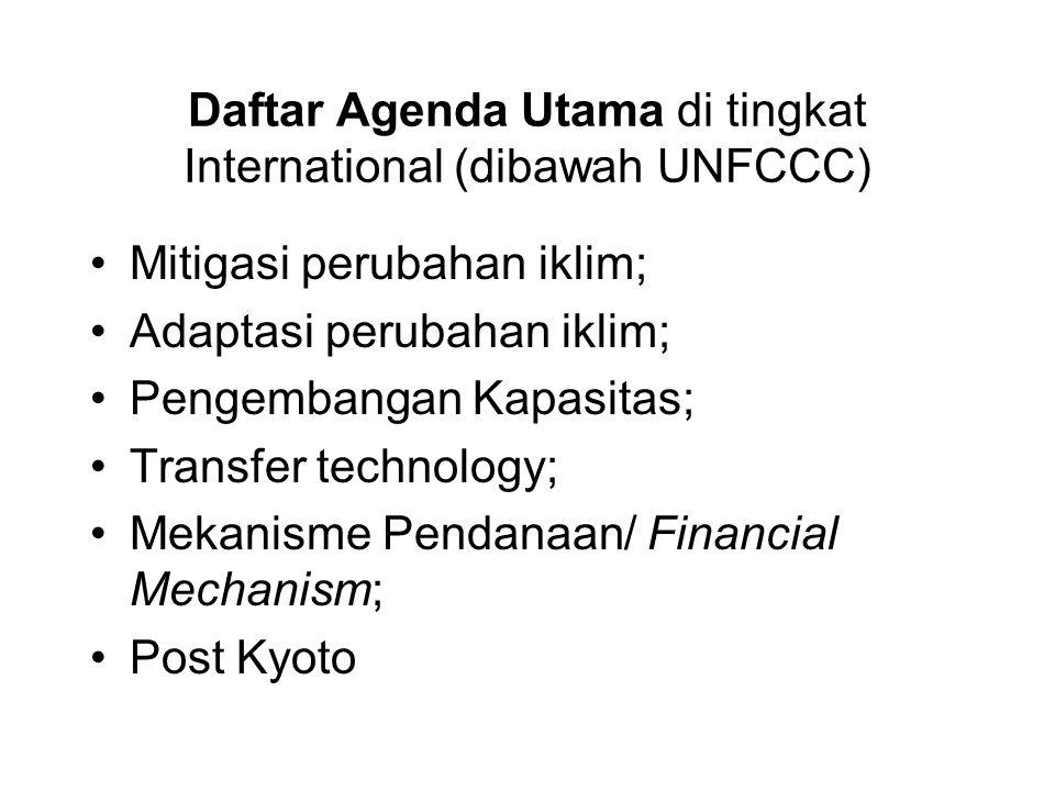 Daftar Agenda Utama di tingkat International (dibawah UNFCCC) •Mitigasi perubahan iklim; •Adaptasi perubahan iklim; •Pengembangan Kapasitas; •Transfer