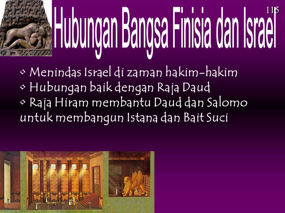 • Menindas Israel di zaman hakim-hakim • Hubungan baik dengan Raja Daud • Raja Hiram membantu Daud dan Salomo untuk membangun Istana dan Bait Suci 115