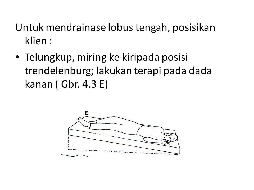 Untuk mendrainase lobus tengah, posisikan klien : • Telungkup, miring ke kiripada posisi trendelenburg; lakukan terapi pada dada kanan ( Gbr. 4.3 E)