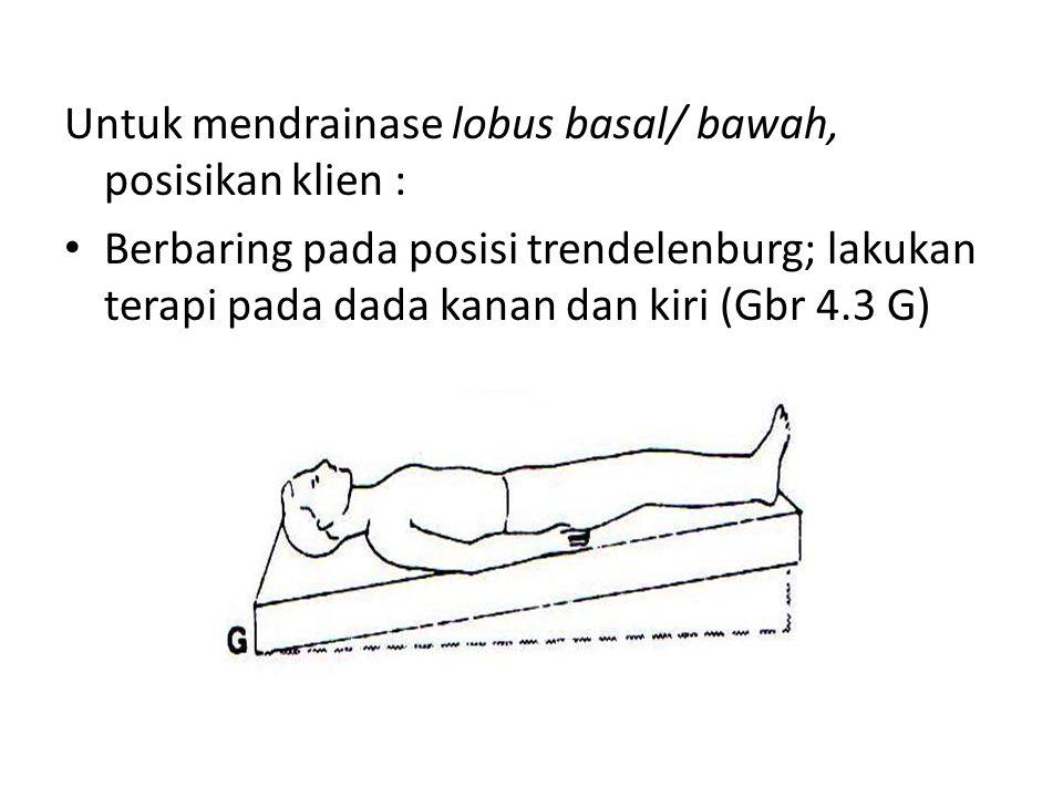 Untuk mendrainase lobus basal/ bawah, posisikan klien : • Berbaring pada posisi trendelenburg; lakukan terapi pada dada kanan dan kiri (Gbr 4.3 G)