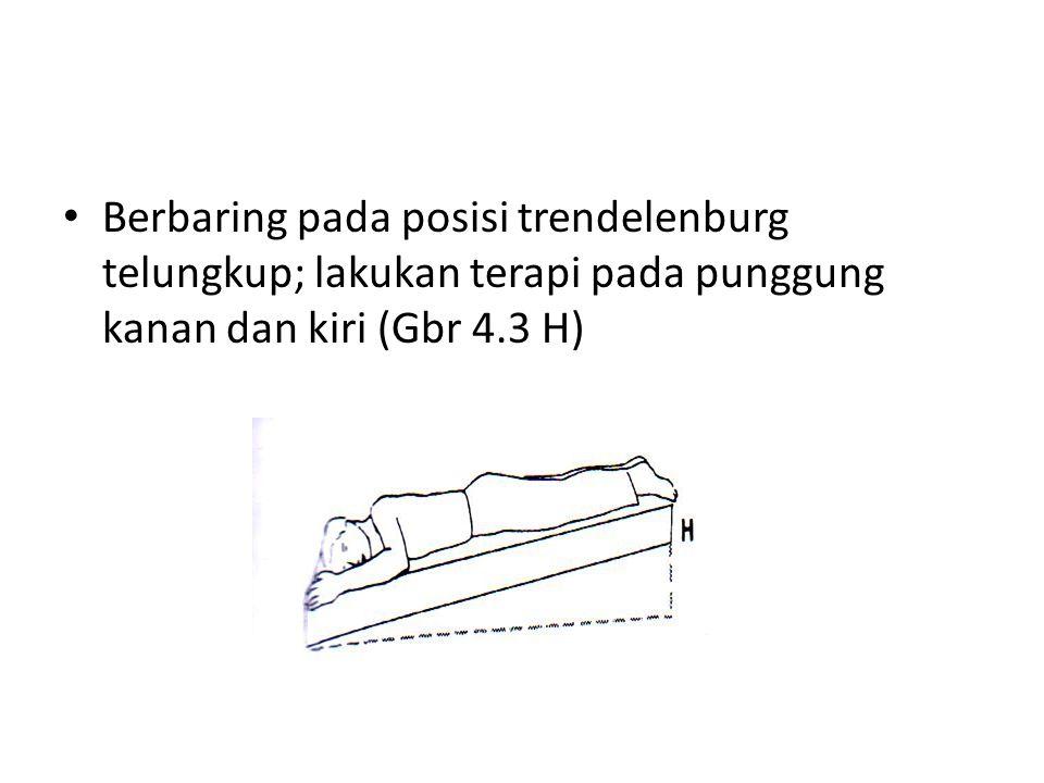 • Berbaring pada posisi trendelenburg telungkup; lakukan terapi pada punggung kanan dan kiri (Gbr 4.3 H)
