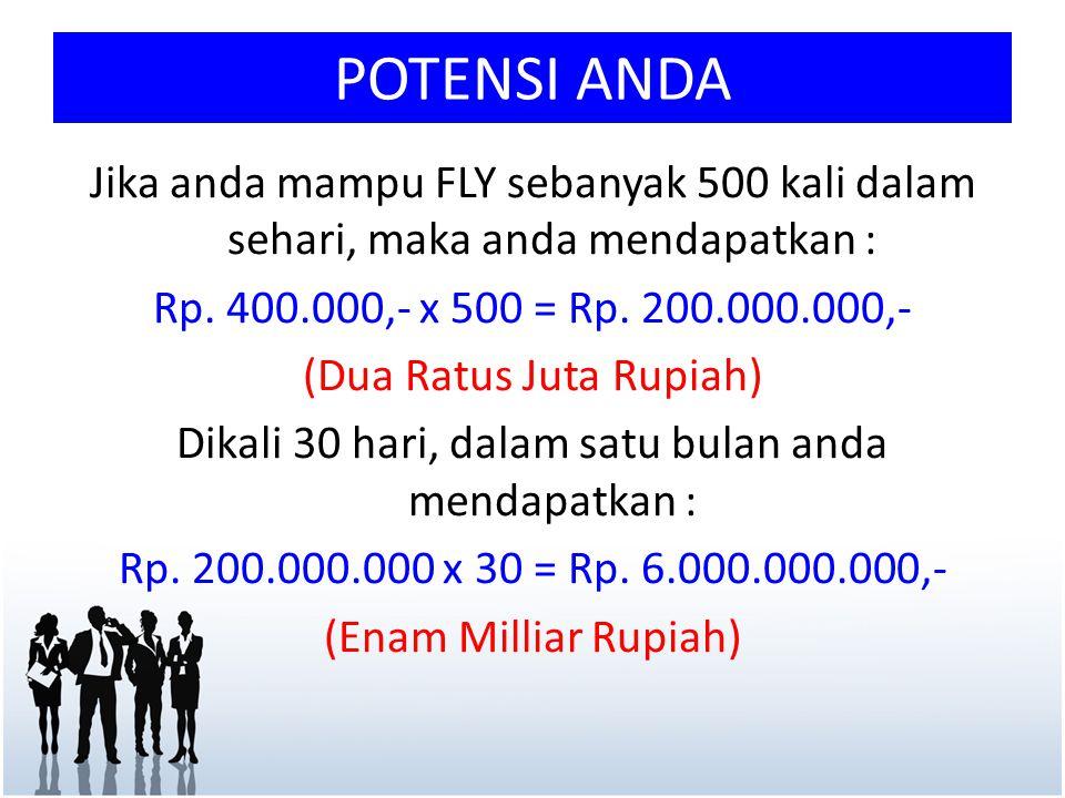POTENSI ANDA Jika anda mampu FLY sebanyak 500 kali dalam sehari, maka anda mendapatkan : Rp. 400.000,- x 500 = Rp. 200.000.000,- (Dua Ratus Juta Rupia