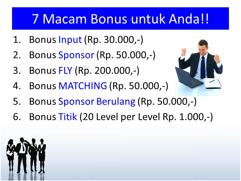 7 Macam Bonus untuk Anda!! 1.Bonus Input (Rp. 30.000,-) 2.Bonus Sponsor (Rp. 50.000,-) 3.Bonus FLY (Rp. 200.000,-) 4.Bonus MATCHING (Rp. 50.000,-) 5.B
