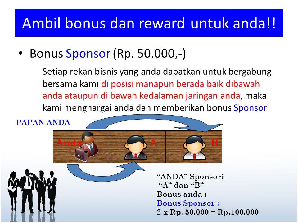 "Ambil bonus dan reward untuk anda!! ""ANDA"" Sponsori ""A"" dan ""B"" Bonus anda : Bonus Sponsor : 2 x Rp. 50.000 = Rp.100.000 AB PAPAN ANDA Anda • Bonus Sp"
