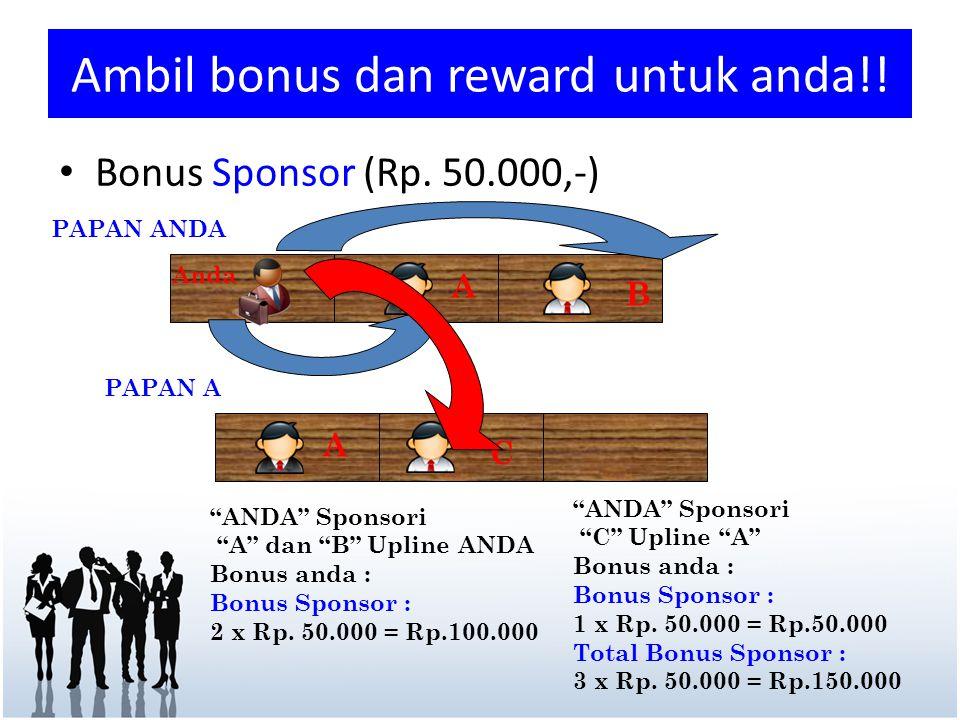 """Ambil bonus dan reward untuk anda!! """"ANDA"""" Sponsori """"A"""" dan """"B"""" Upline ANDA Bonus anda : Bonus Sponsor : 2 x Rp. 50.000 = Rp.100.000 A B PAPAN ANDA An"""