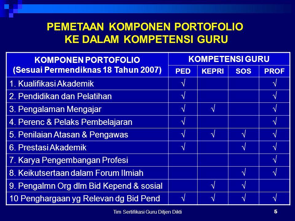 Tim Sertifikasi Guru Ditjen Dikti4 KOMPONEN PORTOFOLIO (SESUAI PERMENDIKNAS NO. 18 TAHUN 2007)  KUALIFIKASI AKADEMIK  PENDIDIKAN DAN PELATIHAN  PEN