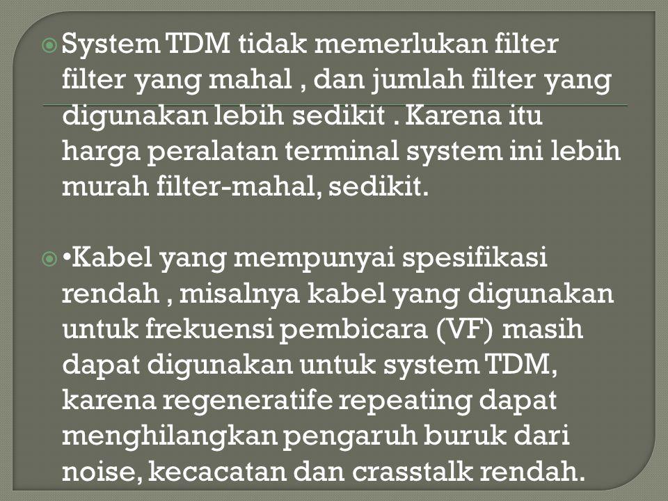  System TDM tidak memerlukan filter filter yang mahal, dan jumlah filter yang digunakan lebih sedikit. Karena itu harga peralatan terminal system ini