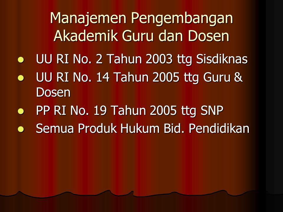 Manajemen Pengembangan Akademik Guru dan Dosen  UU RI No.