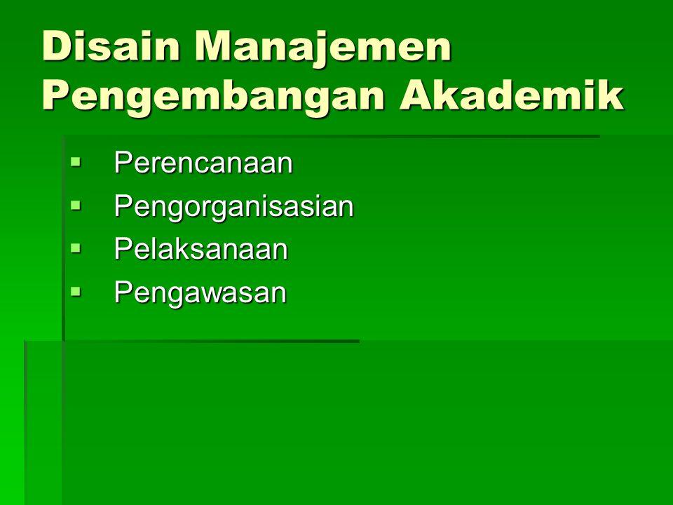 Disain Manajemen Pengembangan Akademik  Perencanaan  Pengorganisasian  Pelaksanaan  Pengawasan