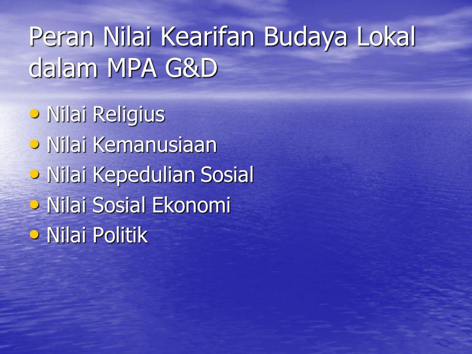 Peran Nilai Kearifan Budaya Lokal dalam MPA G&D • Nilai Religius • Nilai Kemanusiaan • Nilai Kepedulian Sosial • Nilai Sosial Ekonomi • Nilai Politik