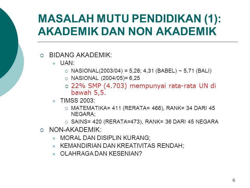 6 MASALAH MUTU PENDIDIKAN (1): AKADEMIK DAN NON AKADEMIK  BIDANG AKADEMIK:  UAN:  NASIONAL(2003/04) = 5,28; 4,31 (BABEL) ~ 5,71 (BALI)  NASIONAL (2004/05)= 6,25  22% SMP (4.703) mempunyai rata-rata UN di bawah 5,5.