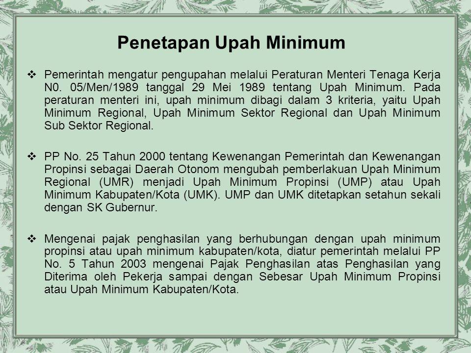 Penetapan Upah Minimum  Pemerintah mengatur pengupahan melalui Peraturan Menteri Tenaga Kerja N0. 05/Men/1989 tanggal 29 Mei 1989 tentang Upah Minimu