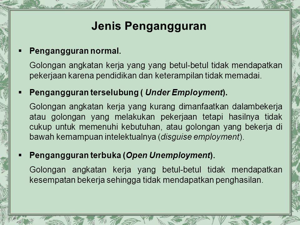 Jenis Pengangguran  Pengangguran normal. Golongan angkatan kerja yang yang betul-betul tidak mendapatkan pekerjaan karena pendidikan dan keterampilan