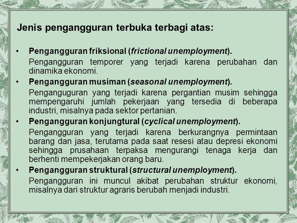 Jenis pengangguran terbuka terbagi atas: •Pengangguran friksional (frictional unemployment). Pengangguran temporer yang terjadi karena perubahan dan d