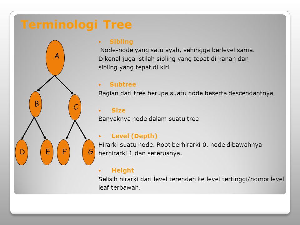  Depth/Kedalaman Jumlah edge dari root sampai dengan node tersebut  Degree Banyaknya child dari suatu node  Forest Himpunan dari sejumlah tree A D B C EFG Terminologi Tree