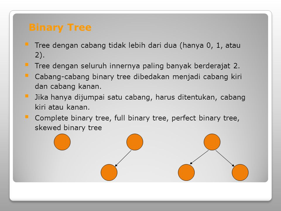 Full Binary Tree Binary tree yang : Setiap node memiliki tepat 0 atau 2 child