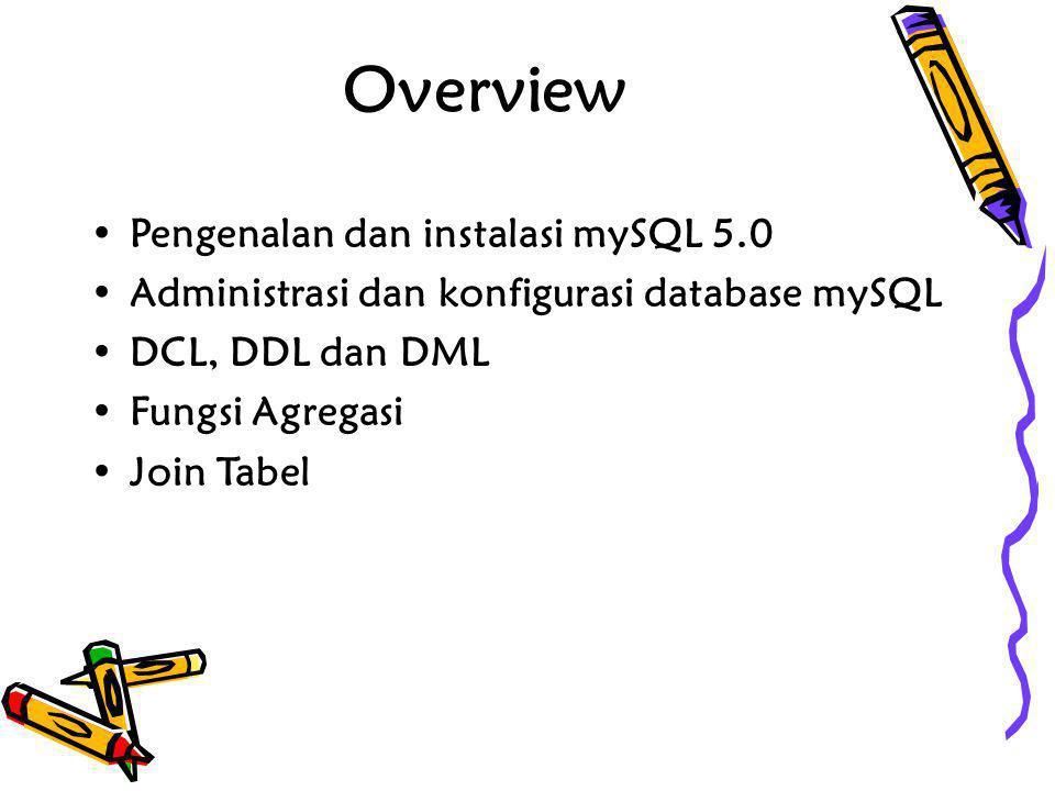 Overview •Pengenalan dan instalasi mySQL 5.0 •Administrasi dan konfigurasi database mySQL •DCL, DDL dan DML •Fungsi Agregasi •Join Tabel