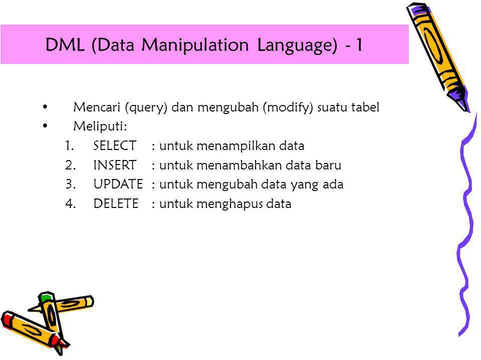 •Mencari (query) dan mengubah (modify) suatu tabel •Meliputi: 1.SELECT : untuk menampilkan data 2.INSERT : untuk menambahkan data baru 3.UPDATE: untuk