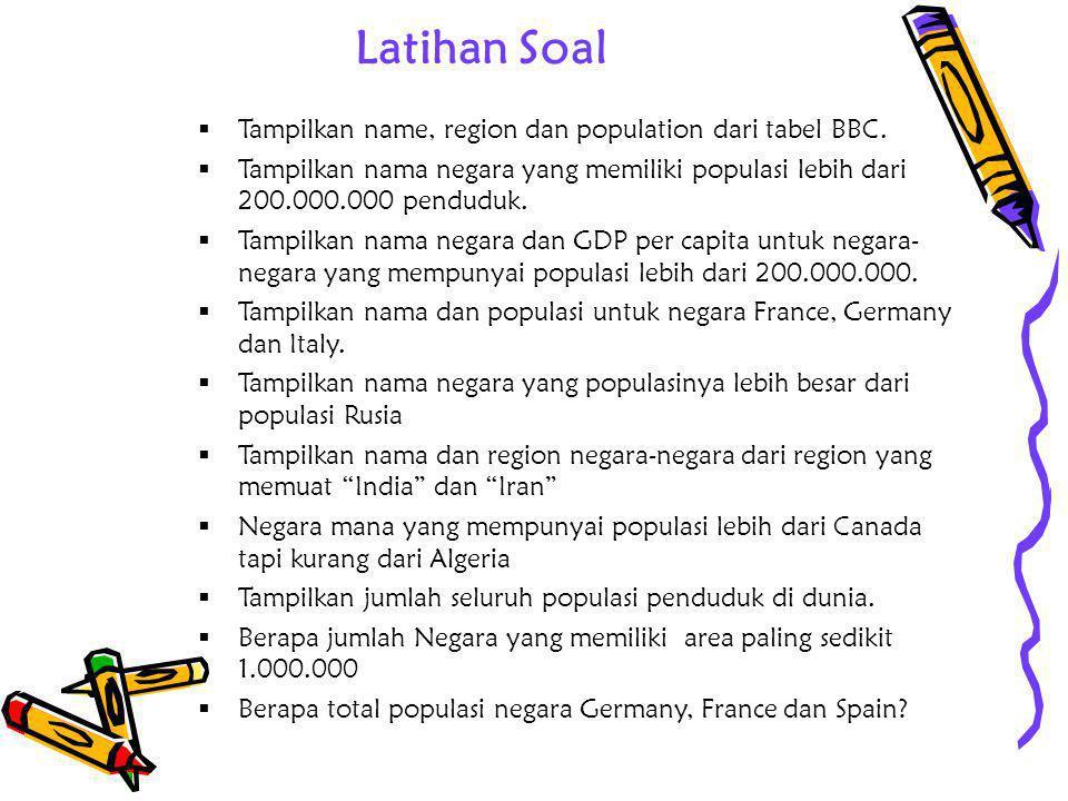Latihan Soal  Tampilkan name, region dan population dari tabel BBC.  Tampilkan nama negara yang memiliki populasi lebih dari 200.000.000 penduduk. 