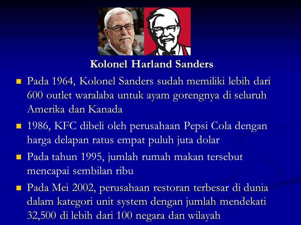 Kolonel Harland Sanders  Pada 1964, Kolonel Sanders sudah memiliki lebih dari 600 outlet waralaba untuk ayam gorengnya di seluruh Amerika dan Kanada