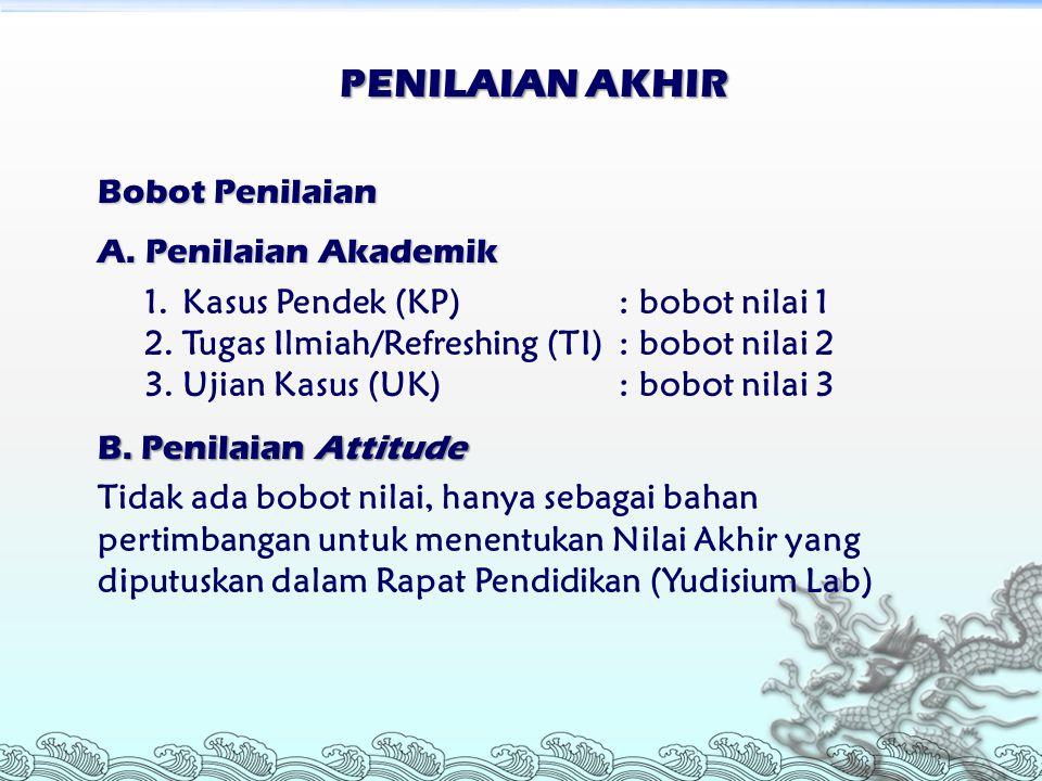 PENILAIAN AKHIR Bobot Penilaian A. Penilaian Akademik 1.Kasus Pendek (KP) : bobot nilai 1 2.Tugas Ilmiah/Refreshing (TI): bobot nilai 2 3.Ujian Kasus