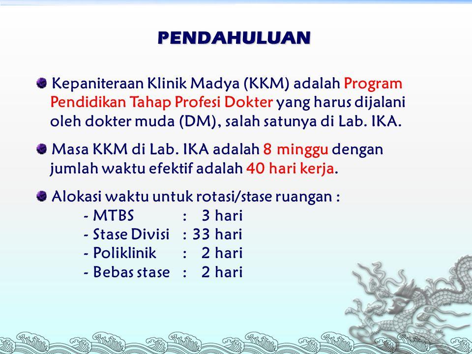 PENDAHULUAN Kepaniteraan Klinik Madya (KKM) adalah Program Pendidikan Tahap Profesi Dokter yang harus dijalani oleh dokter muda (DM), salah satunya di