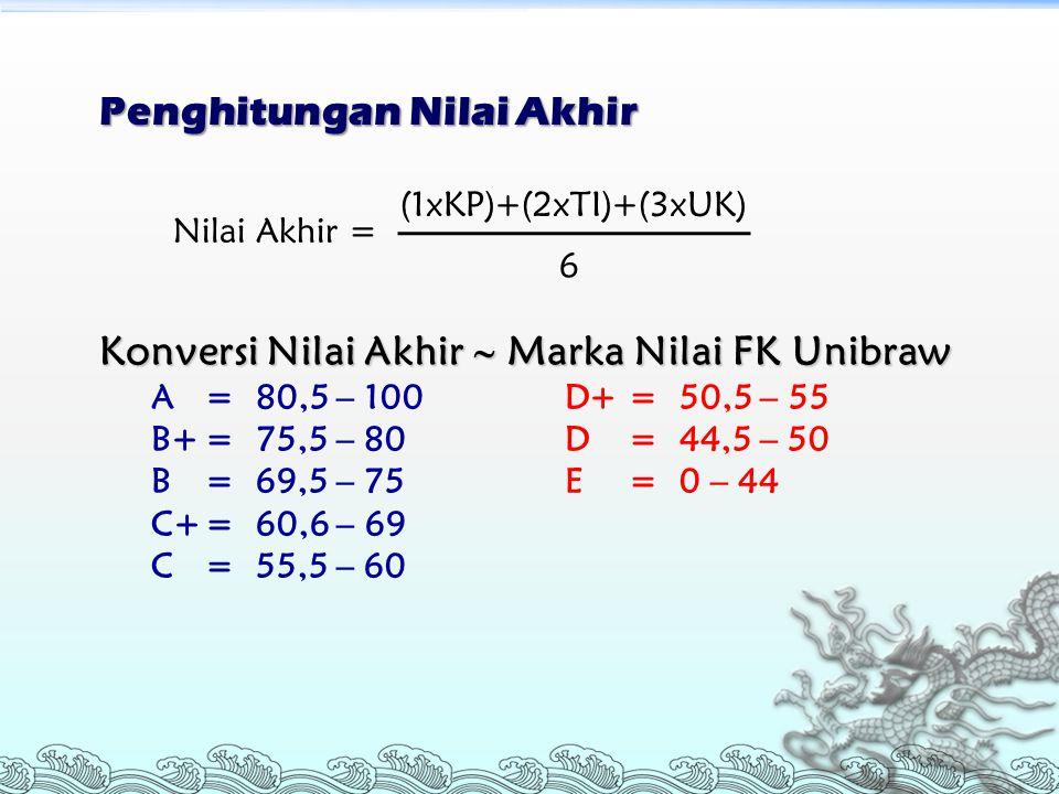 Penghitungan Nilai Akhir Nilai Akhir = (1xKP)+(2xTI)+(3xUK) 6 Konversi Nilai Akhir  Marka Nilai FK Unibraw A= 80,5 – 100 D+= 50,5 – 55 B+= 75,5 – 80