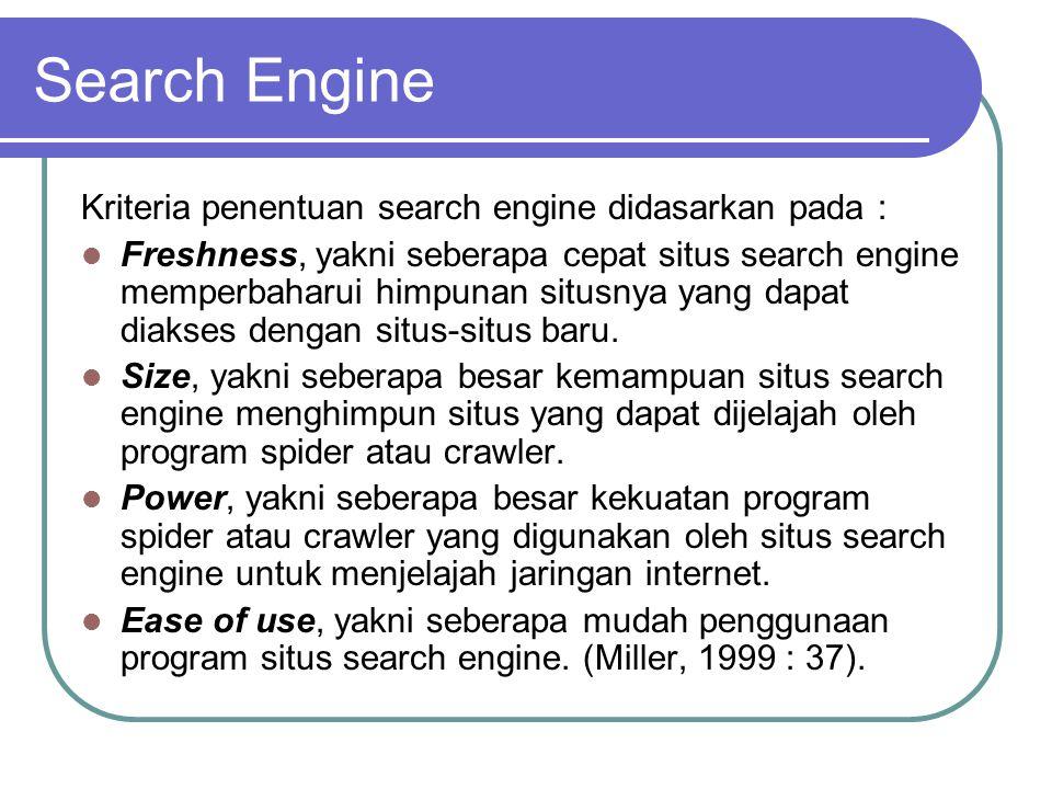 Search Engine Situs-situs search engine yang dianggap baik : Google (http://www.google.com),http://www.google.com Altavista (http://www.altavista.com),http://www.altavista.com HotBot (http://www.hotbot.com),http://www.hotbot.com Northern Light (http://www.northernlight.com),http://www.northernlight.com Excite (http://www.excite.com),http://www.excite.com Infoseek (http://www.infoseek.go.com),http://www.infoseek.go.com Lycos (http://www.lycos.com).http://www.lycos.com