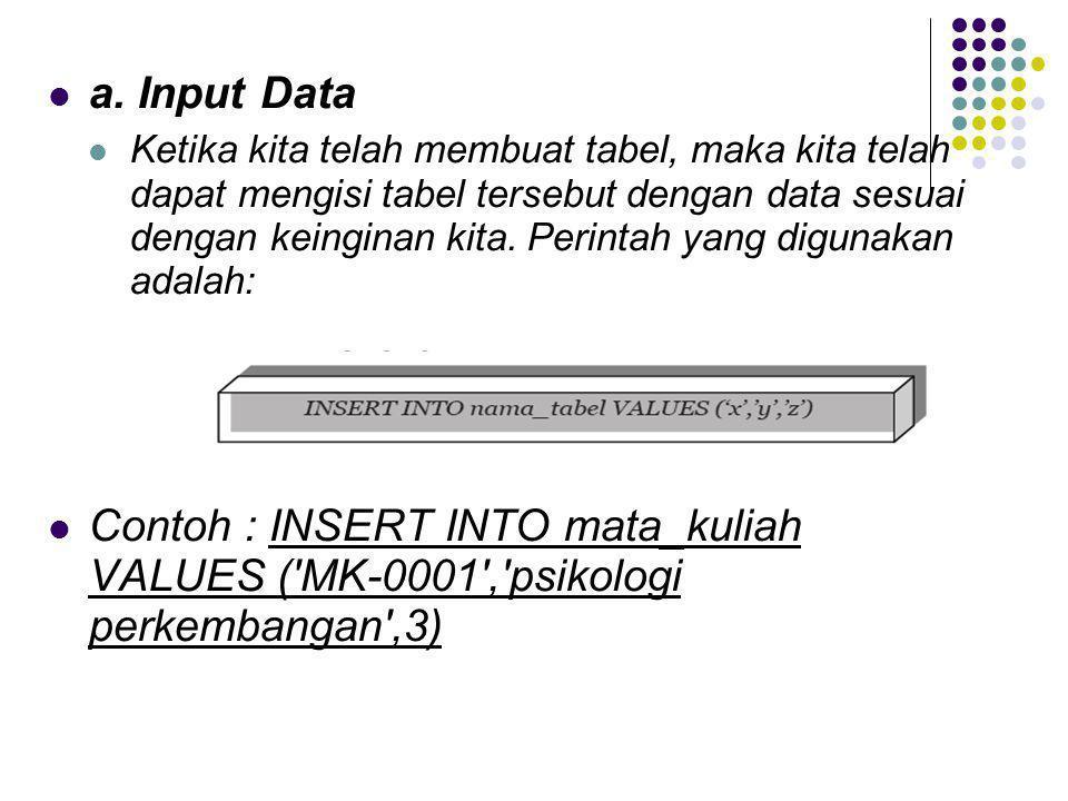  a. Input Data  Ketika kita telah membuat tabel, maka kita telah dapat mengisi tabel tersebut dengan data sesuai dengan keinginan kita. Perintah yan