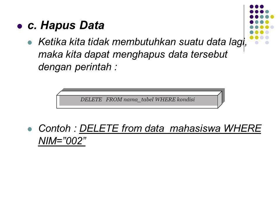  c. Hapus Data  Ketika kita tidak membutuhkan suatu data lagi, maka kita dapat menghapus data tersebut dengan perintah :  Contoh : DELETE from data