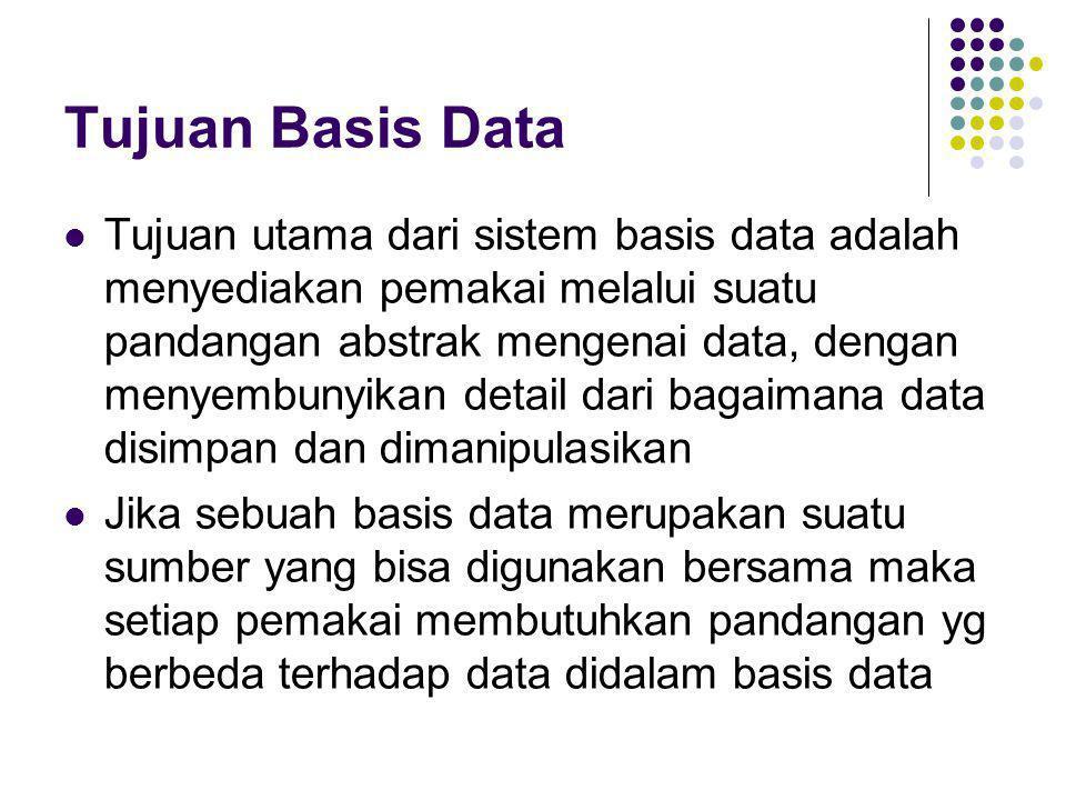 Tujuan Basis Data  Tujuan utama dari sistem basis data adalah menyediakan pemakai melalui suatu pandangan abstrak mengenai data, dengan menyembunyika