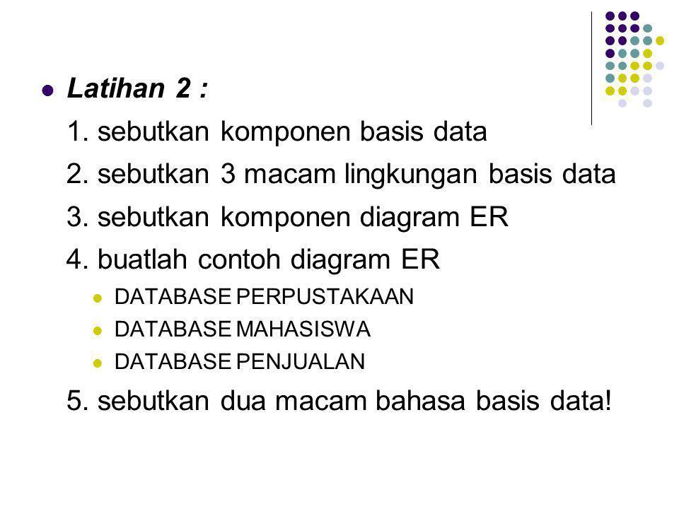  Latihan 2 : 1. sebutkan komponen basis data 2. sebutkan 3 macam lingkungan basis data 3. sebutkan komponen diagram ER 4. buatlah contoh diagram ER 