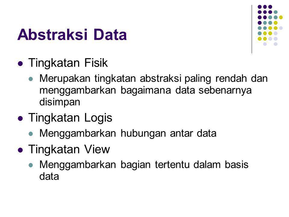 Abstraksi Data  Tingkatan Fisik  Merupakan tingkatan abstraksi paling rendah dan menggambarkan bagaimana data sebenarnya disimpan  Tingkatan Logis