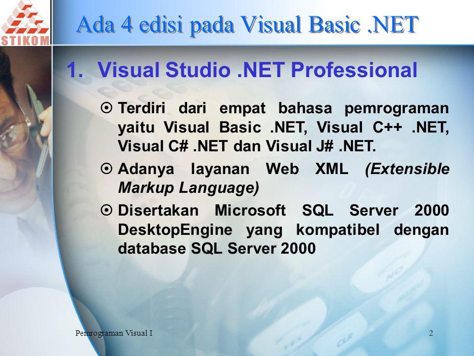 Pemrograman Visual I13 Memulai Program Visual Basic.NET 1.Klik tombol Start pada Taskbar 2.Pilih Program atau All Program 3.Klik Microsoft Visual Basic.NET 4.Microsoft Visual Basic.NET menampilkan jendela Start Page 5.Klik tab Projects