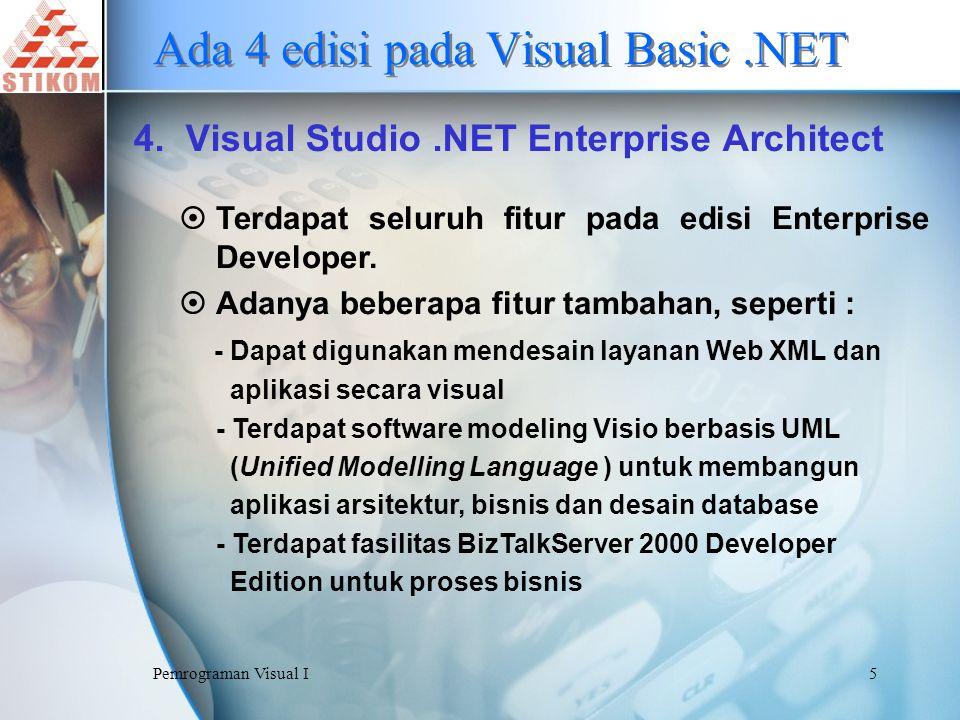Pemrograman Visual I6 Mengenal.NET Framework.NET Framework merupakan lingkungan komputasi baru yang menyediakan proses pembuatan aplikasi pada lingkungan terdistribusi di internet Definisi :