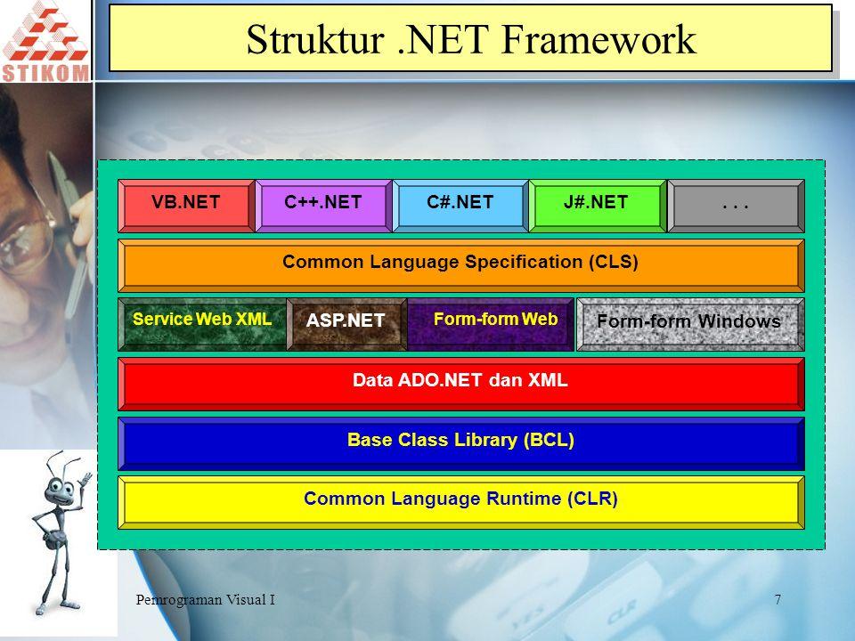 Pemrograman Visual I8 Mengenal.NET Framework  ASP.NET dan Service Web  Form-form Windows  ADO.NET dan XML  Adanya infra struktur layanan seperti keamanan, pengolahan transaksi dsb Empat area Class pada.NET Framework :