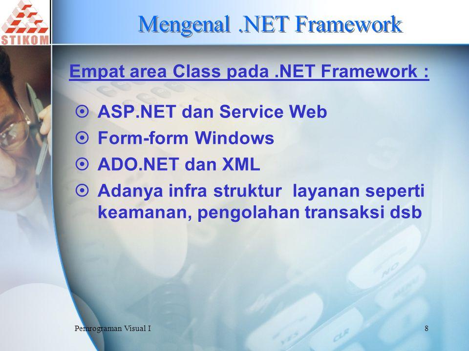 Pemrograman Visual I9 Common Language Runtime CLR (Common Language Runtime) atau Runtime merupakan engine yang menjalankan aplikasi.NET Framework.