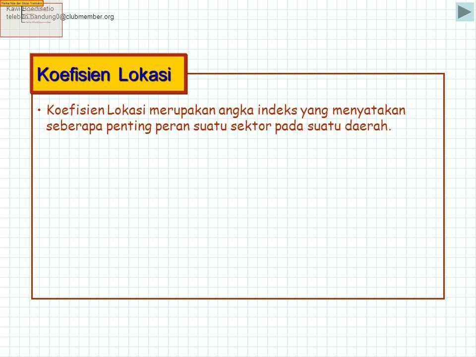 Kawi Boedisetio telebiro.bandung0@clubmember.org •Koefisien Lokasi merupakan angka indeks yang menyatakan seberapa penting peran suatu sektor pada sua