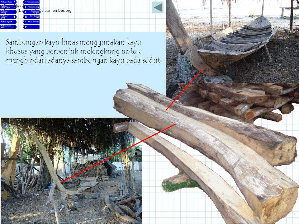 Kawi Boedisetio telebiro.bandung0@clubmember.org Sambungan kayu lunas menggunakan kayu khusus yang berbentuk melengkung untuk menghindari adanya sambu