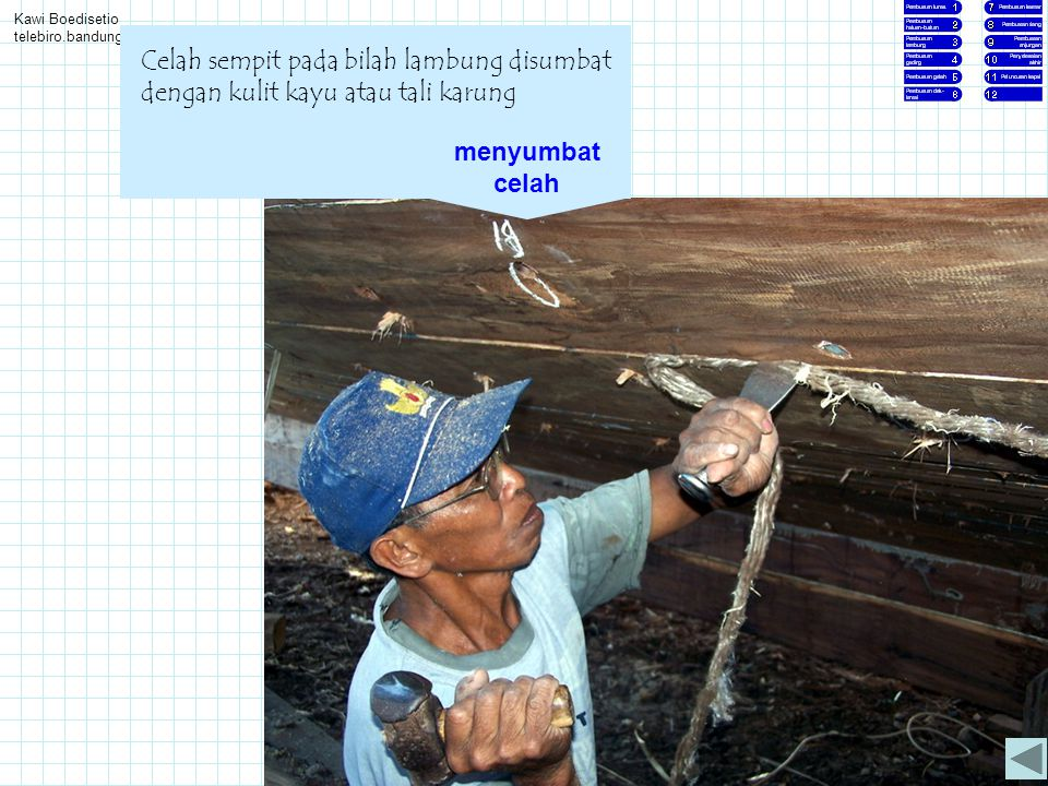 Kawi Boedisetio telebiro.bandung0@clubmember.org Celah sempit pada bilah lambung disumbat dengan kulit kayu atau tali karung menyumbat celah