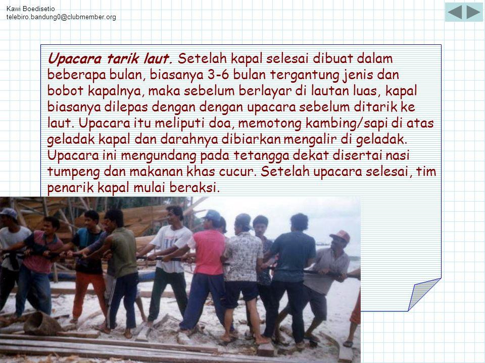 Kawi Boedisetio telebiro.bandung0@clubmember.org Upacara tarik laut. Setelah kapal selesai dibuat dalam beberapa bulan, biasanya 3-6 bulan tergantung