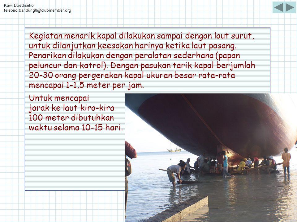 Kawi Boedisetio telebiro.bandung0@clubmember.org Kegiatan menarik kapal dilakukan sampai dengan laut surut, untuk dilanjutkan keesokan harinya ketika