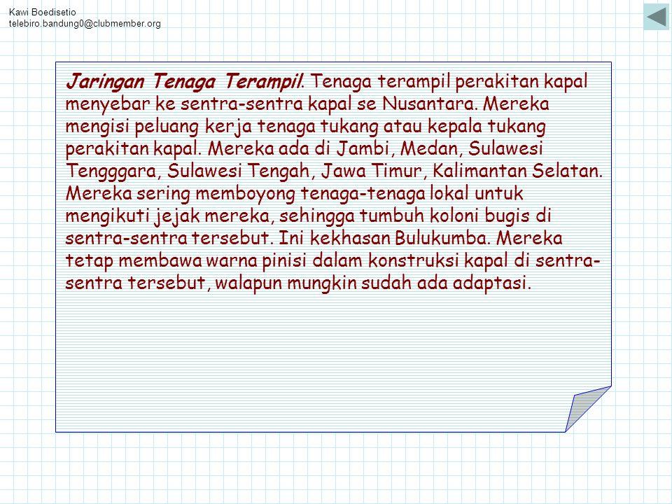 Kawi Boedisetio telebiro.bandung0@clubmember.org Jaringan Tenaga Terampil. Tenaga terampil perakitan kapal menyebar ke sentra-sentra kapal se Nusantar