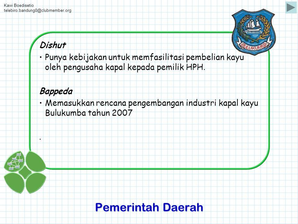 Kawi Boedisetio telebiro.bandung0@clubmember.org Dishut •Punya kebijakan untuk memfasilitasi pembelian kayu oleh pengusaha kapal kepada pemilik HPH. B