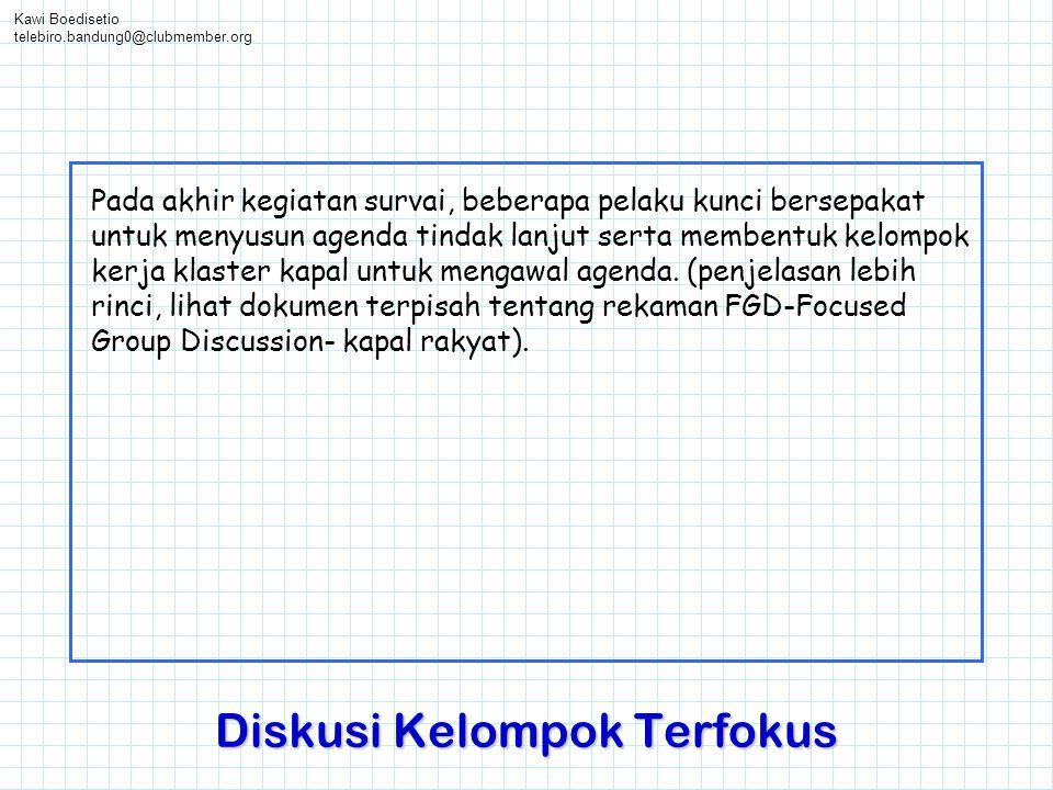 Kawi Boedisetio telebiro.bandung0@clubmember.org Diskusi Kelompok Terfokus Pada akhir kegiatan survai, beberapa pelaku kunci bersepakat untuk menyusun