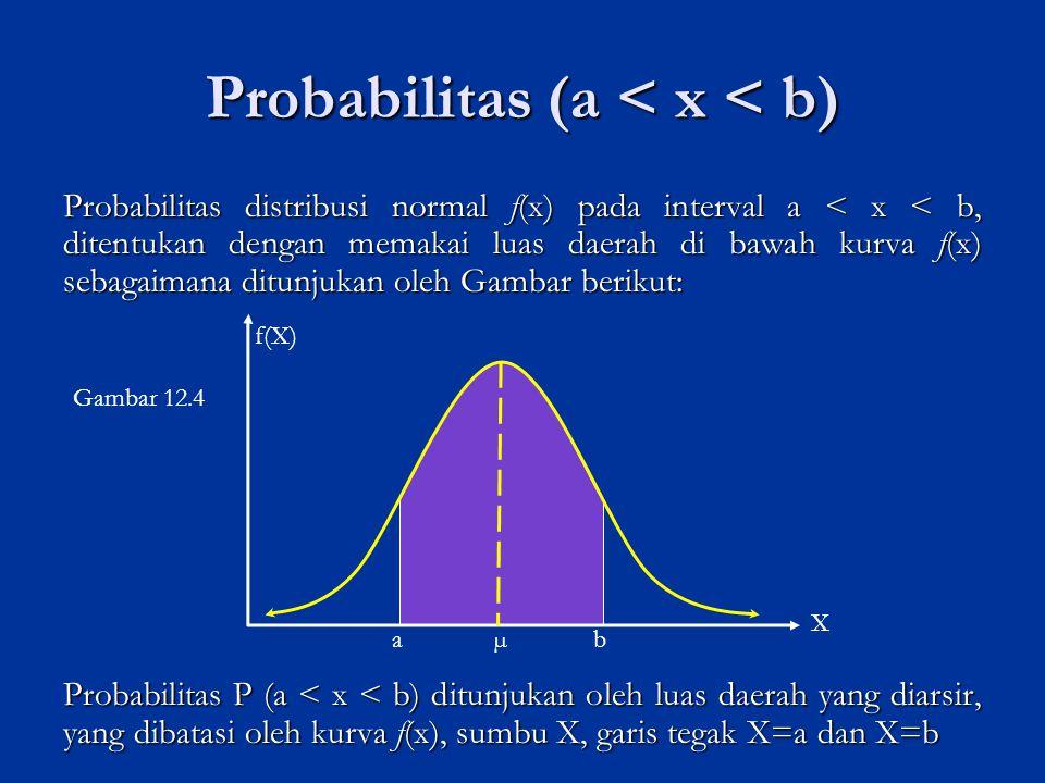 Probabilitas P (a < x < b) dihitung dengan memakai integral dari fungsi f(x) yang dibatasi oleh X = a dan X = b, yaitu dengan rumus : Akan tetapi, secara matematis bentuk integral dari fungsi f (x) tersebut sulit dipecahkan secara langsung dengan teknik integral.