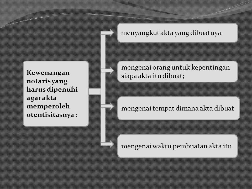Kewenangan notaris yang harus dipenuhi agar akta memperoleh otentisitasnya : mengenai orang untuk kepentingan siapa akta itu dibuat; menyangkut akta yang dibuatnya mengenai tempat dimana akta dibuat mengenai waktu pembuatan akta itu