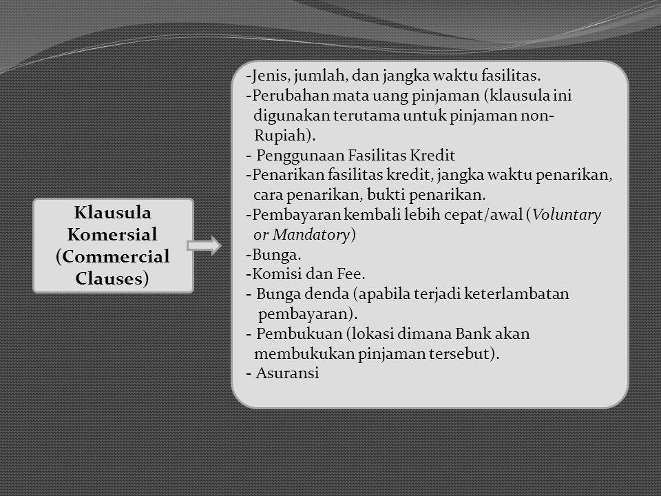 Klausula Komersial (Commercial Clauses) -Jenis, jumlah, dan jangka waktu fasilitas.