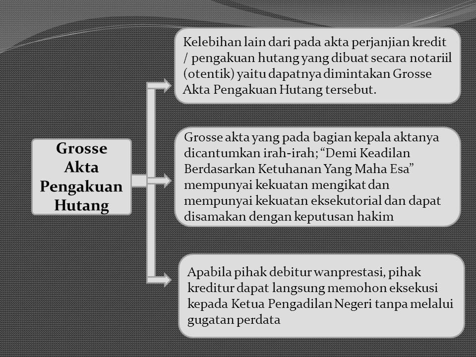 Grosse Akta Pengakuan Hutang Kelebihan lain dari pada akta perjanjian kredit / pengakuan hutang yang dibuat secara notariil (otentik) yaitu dapatnya dimintakan Grosse Akta Pengakuan Hutang tersebut.